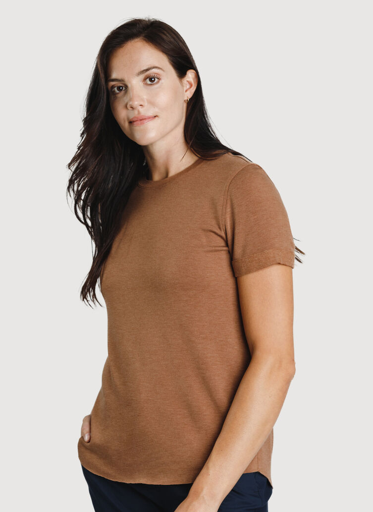 Good Feels Brushed Short Sleeve Crew, Heather Toffee | Kit and Ace