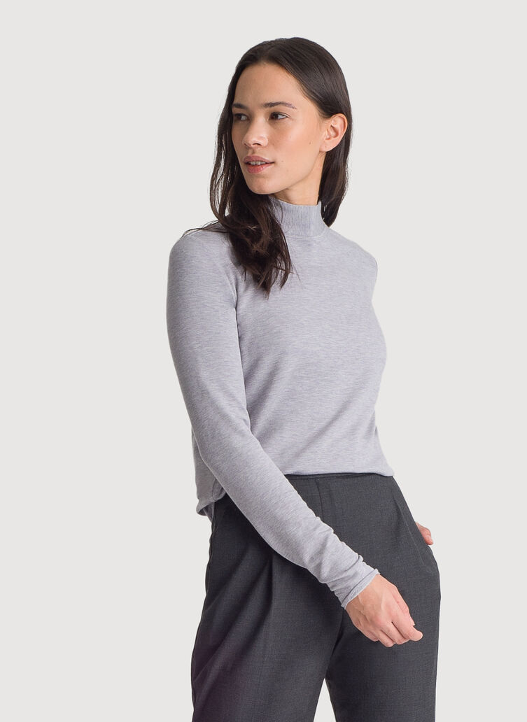 Brushed Mock Neck Long Sleeve Tee, HTHR Dapple Grey | Kit and Ace