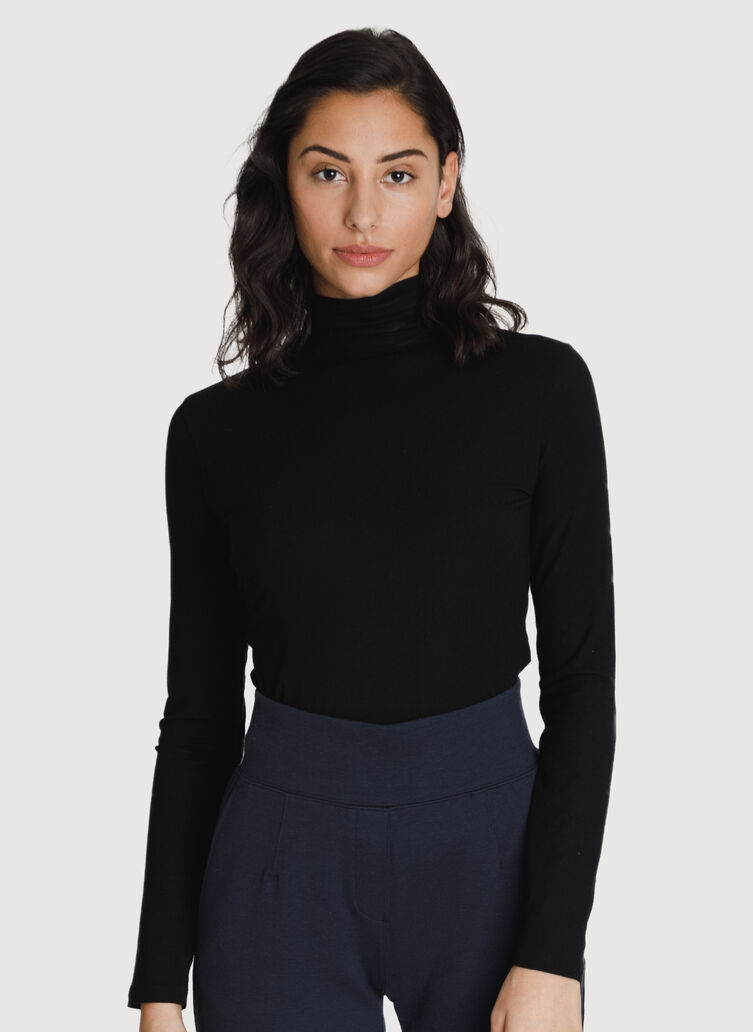 Rib Turtleneck Long Sleeve, BLACK | Kit and Ace