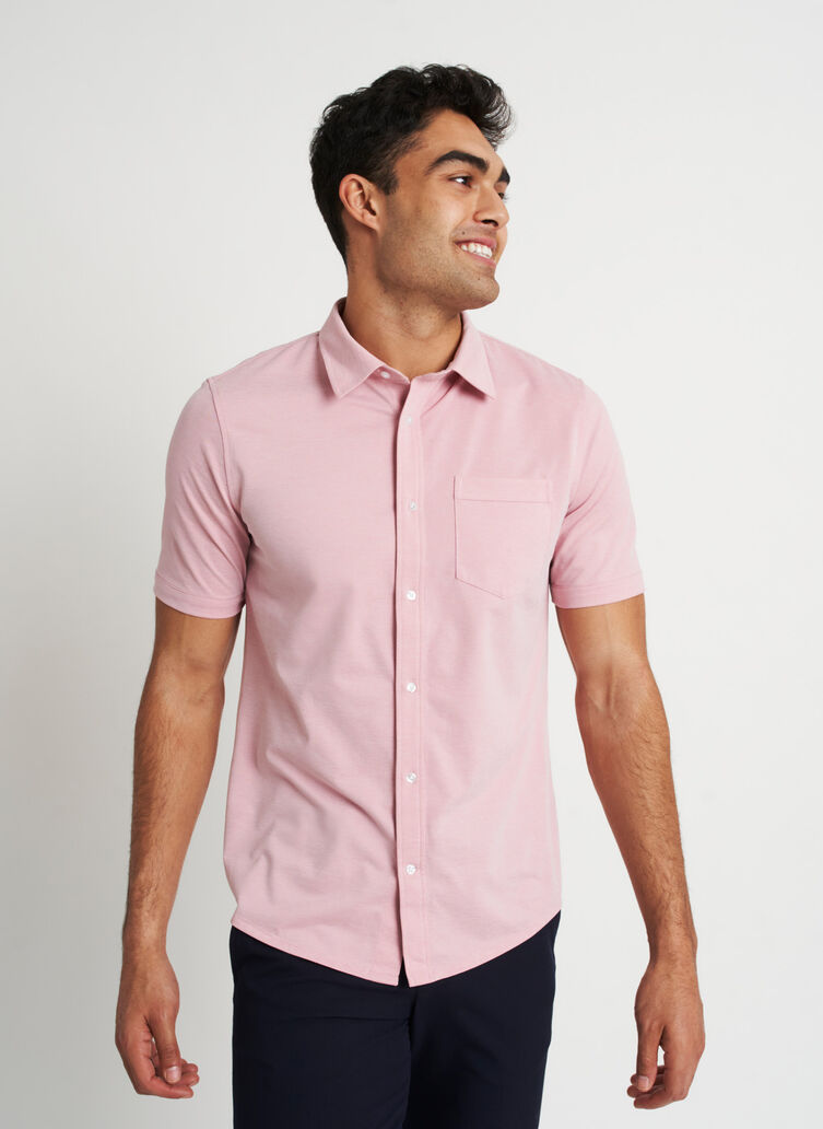 City Tech Classic Short Sleeve Shirt, Dusty Rose Chambray | Kit and Ace