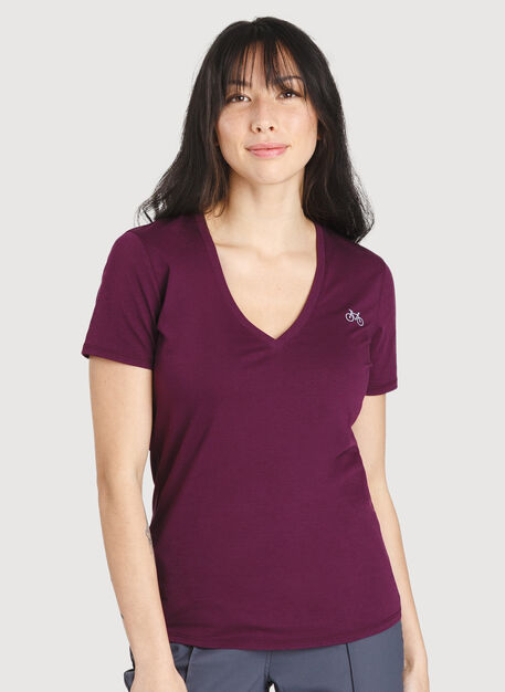 Movement V-Neck Tee, Dark Plum | Kit and Ace