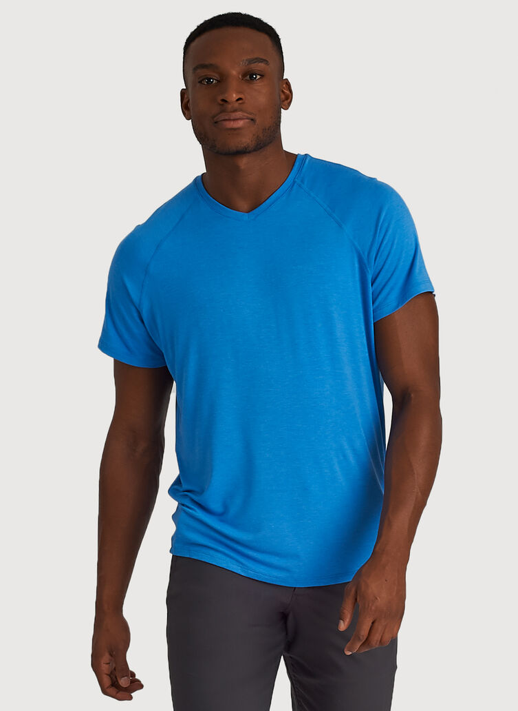 Ace Tech Jersey V Tee Relaxed Fit, HTHR Sail Blue | Kit and Ace