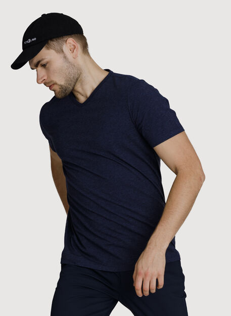 Ace Pima V-Neck, HTHR Deep Navy | Kit and Ace