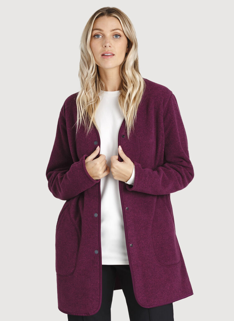Hygge Long Jacket, Dark Plum | Kit and Ace