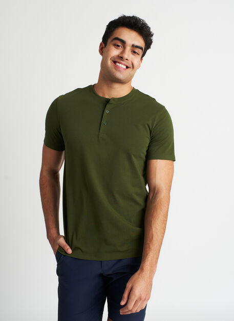Ace Pima Henley Tee, Grove Green | Kit and Ace