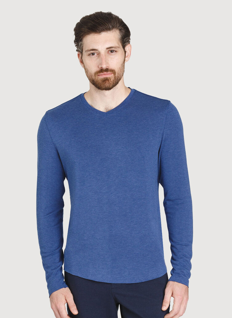The B.F.T. Long Sleeve V-Neck Tee, Heather Blue Indigo | Kit and Ace