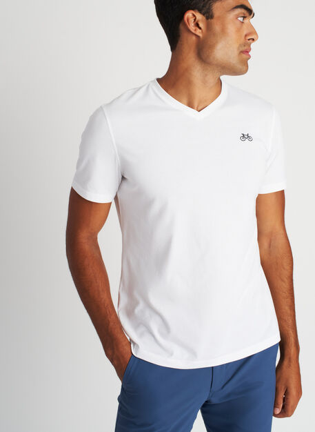 Motion V-Neck Tee, Bright White | Kit and Ace