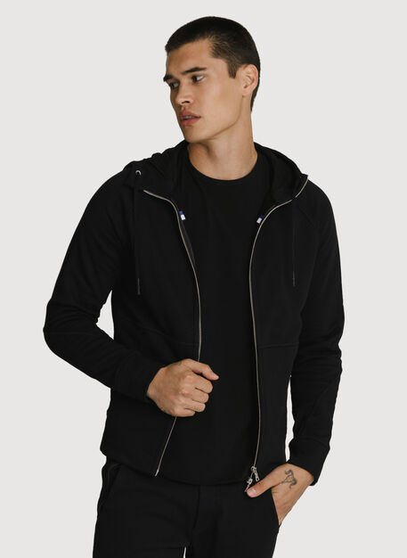 Terry Full Zip Hoodie, BLACK | Kit and Ace