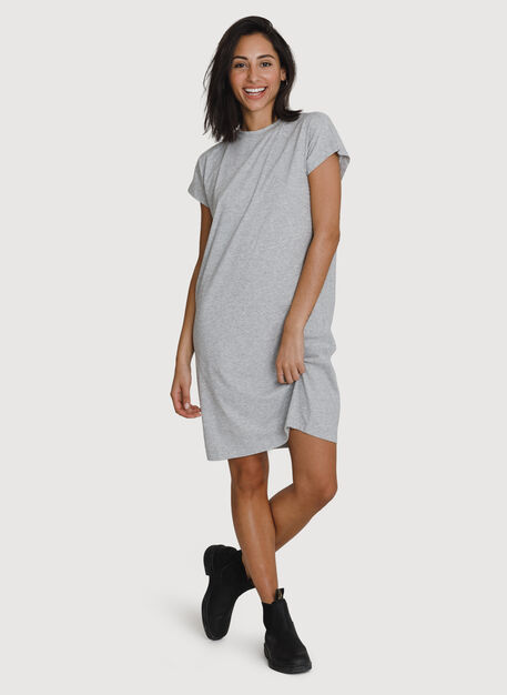 Mock Neck Pima Boyfriend Dress, HTHR Metal | Kit and Ace
