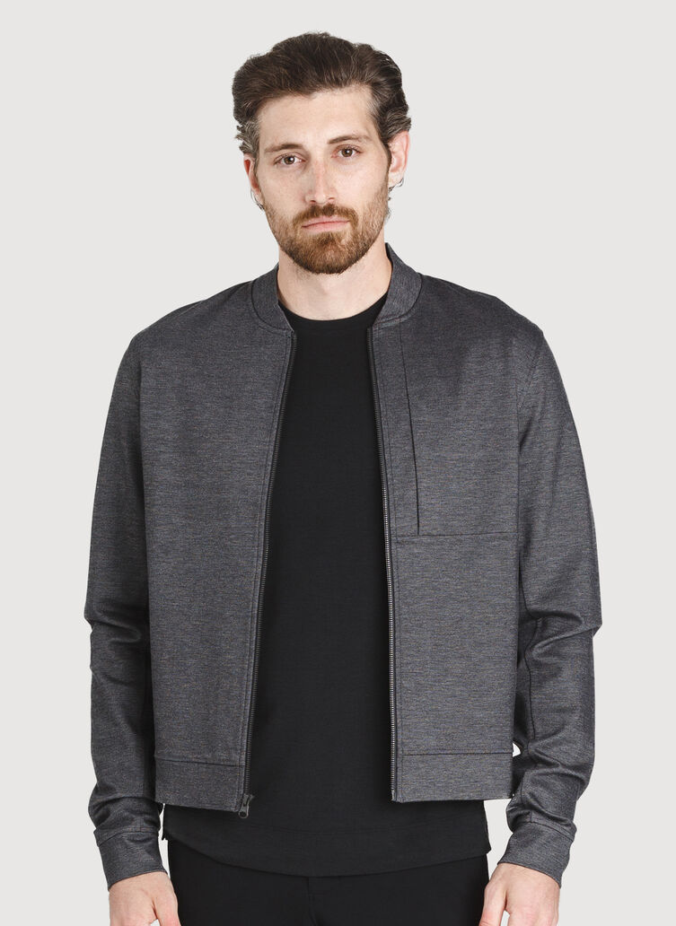 Comfort Bomber Jacket, Charcoal Melange | Kit and Ace