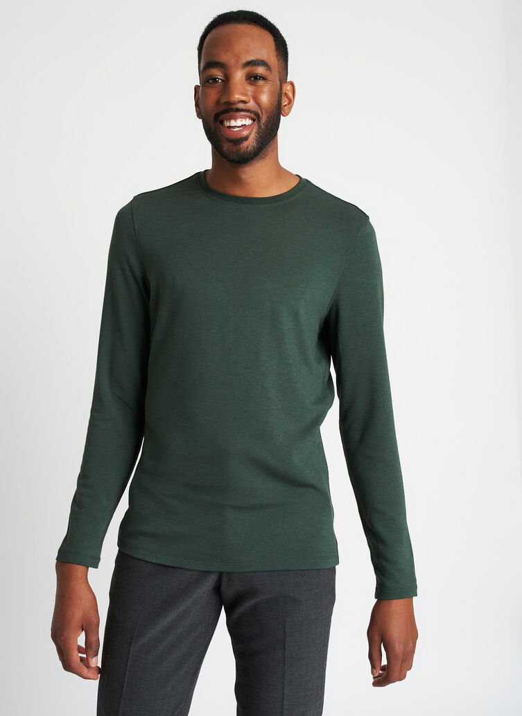 Upgraded Brushed Long Sleeve Crewneck Tee, Heather Forest | Kit and Ace