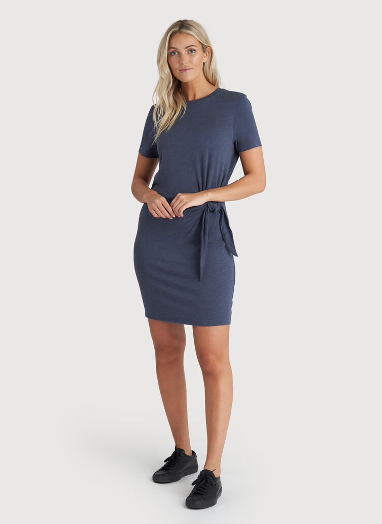 Brushed Tie Dress, Heather Dark Denim | Kit and Ace
