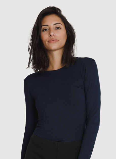 Straight Up Crew Long Sleeve, Deep Navy | Kit and Ace