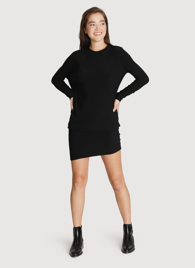 Brushed Wave Dress Long Sleeve, BLACK | Kit and Ace