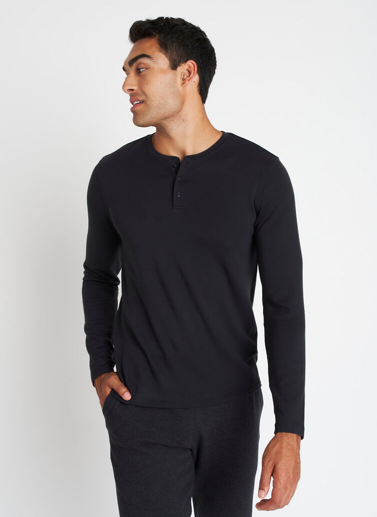 Upgraded Long Sleeve Henley Tee, Black | Kit and Ace