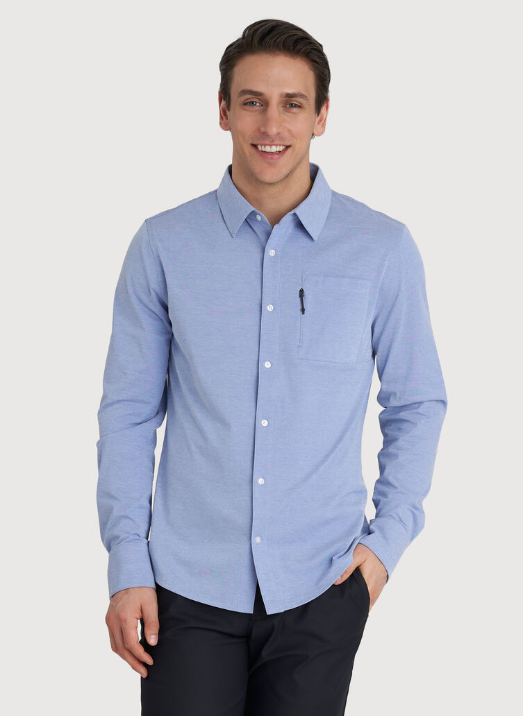 Geared Up Long Sleeve Shirt, Ocean Chambray | Kit and Ace