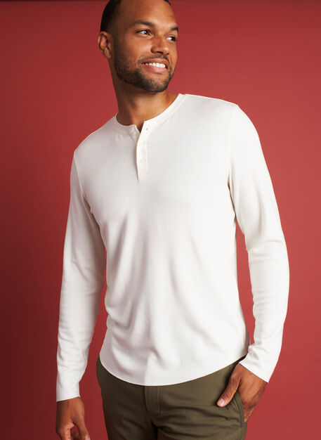 The B.F.T. Long Sleeve Henley Tee, Bone White | Kit and Ace