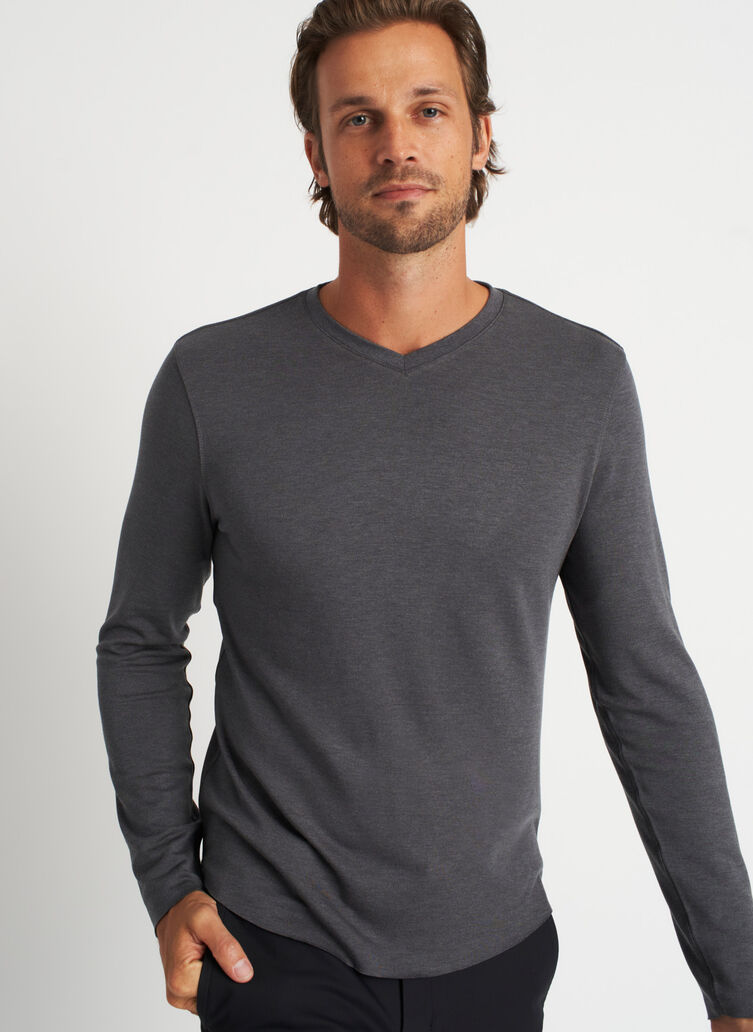 Brushed Long Sleeve V-Neck Tee, Heather Charcoal | Kit and Ace