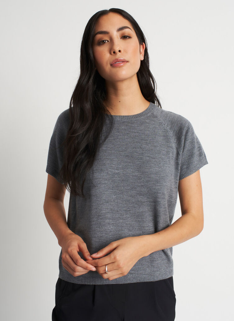 Nicely Knit Merino Tee, Heather Grey | Kit and Ace