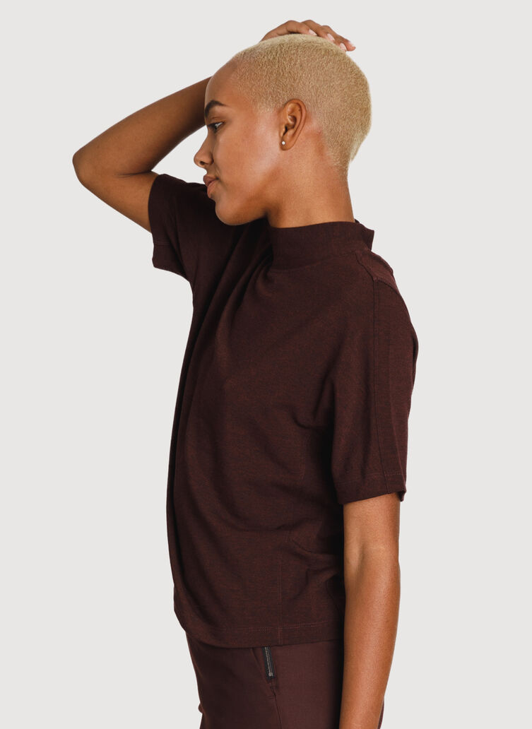 Uniform Brushed Mock Neck Tee, HTHR Plum | Kit and Ace