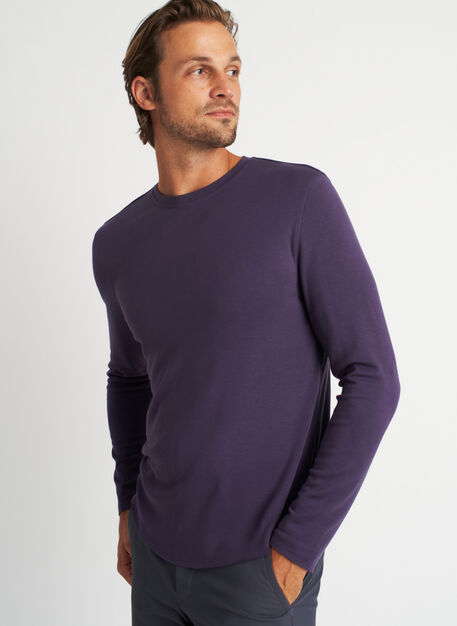 The B.F.T. Long Sleeve Crewneck Tee, Aubergine | Kit and Ace