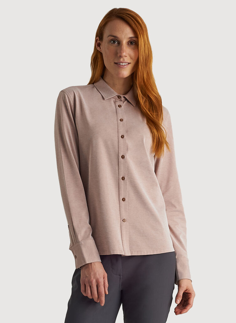 O.T.M. Long Sleeve Button Up, Glazed Ginger Chambray | Kit and Ace
