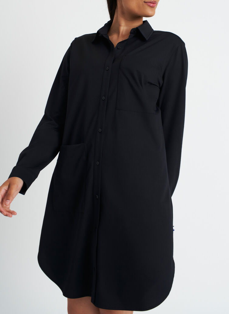 Moving Onward Shirt Dress, BLACK | Kit and Ace