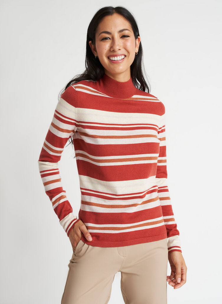 Fitted Merino Turtleneck Sweater, Paprika/Blush | Kit and Ace