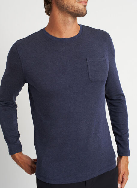 First Class Pocket Crewneck Tee, Heather Dark Navy | Kit and Ace