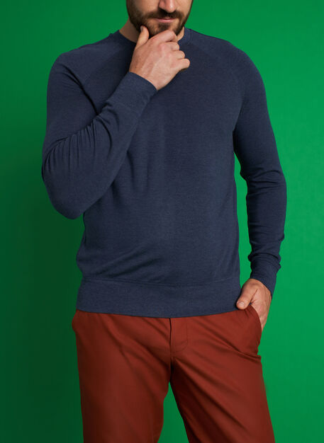 Chillin Pullover, Heather Dark Navy | Kit and Ace