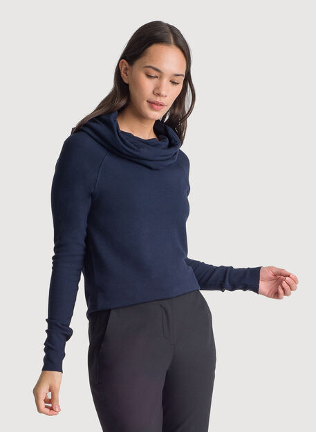 Brushed Cowl Neck Long Sleeve Tee, DK Navy | Kit and Ace