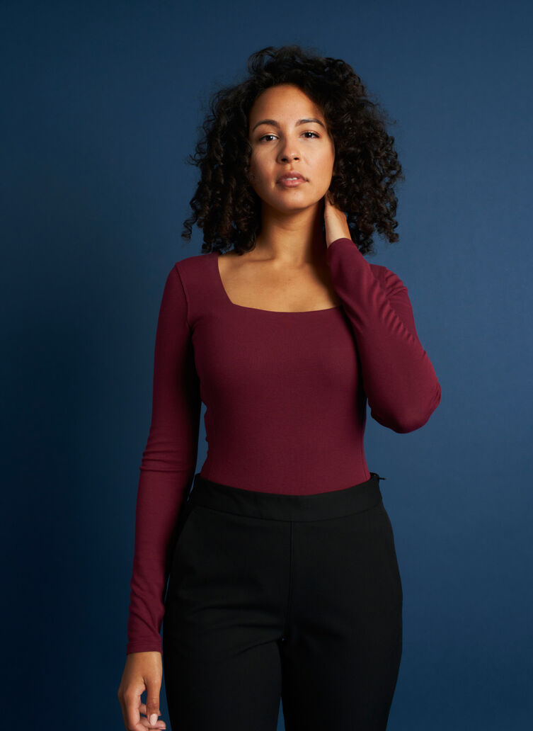 Kit Square Neck Bodysuit, Plum | Kit and Ace