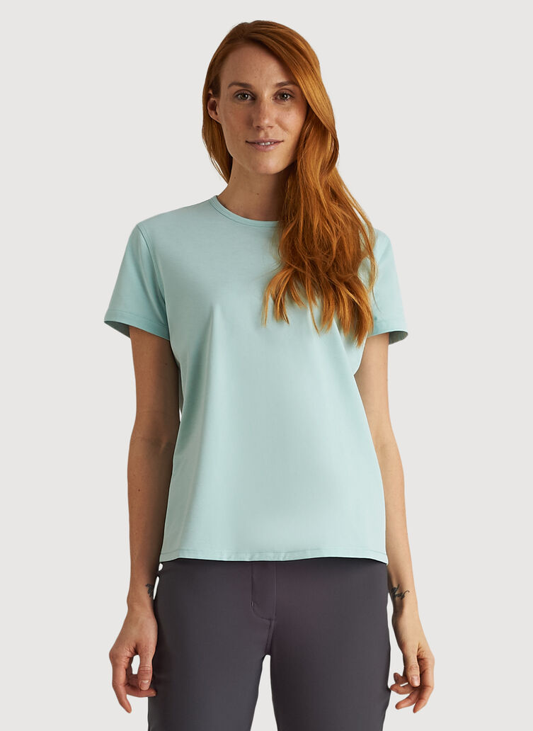 O.T.M. Crew Tee, Seafoam Chambray | Kit and Ace