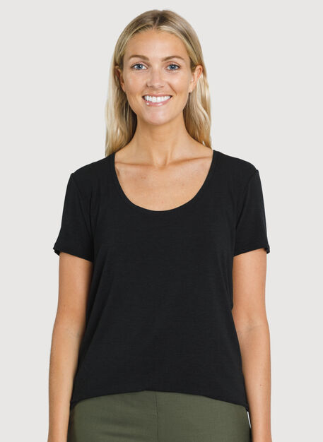 Kit Tech Jersey Scoop Tee, HTHR Black | Kit and Ace