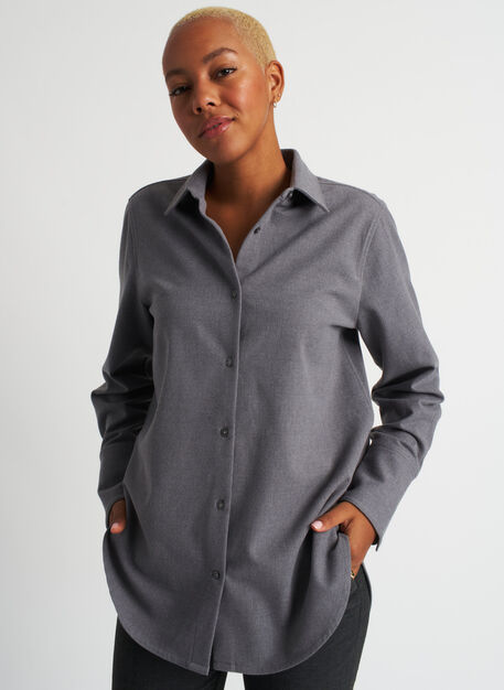 Here and There Button Up Shirt, Heather Grey | Kit and Ace