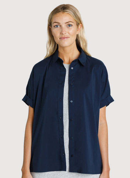 Stretch Shirting Oversized Blouse, Dark Navy | Kit and Ace