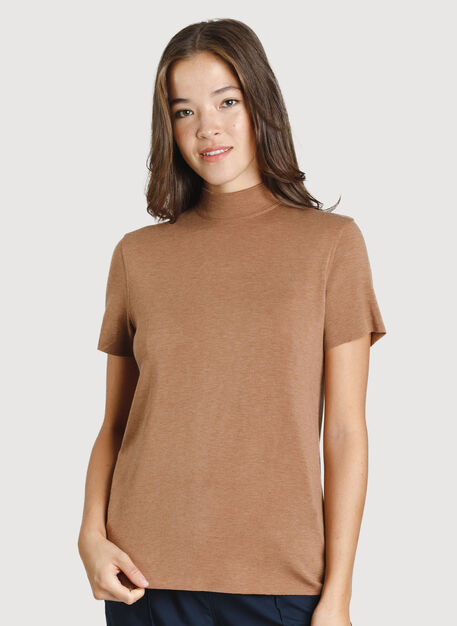 Good Feels Mock Neck Tee, HTHR Toffee | Kit and Ace
