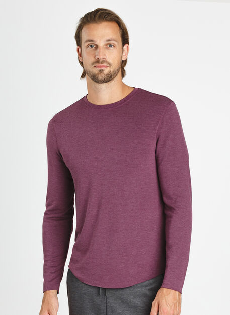 The B.F.T. Long Sleeve Crew, HTHR Dark Plum | Kit and Ace