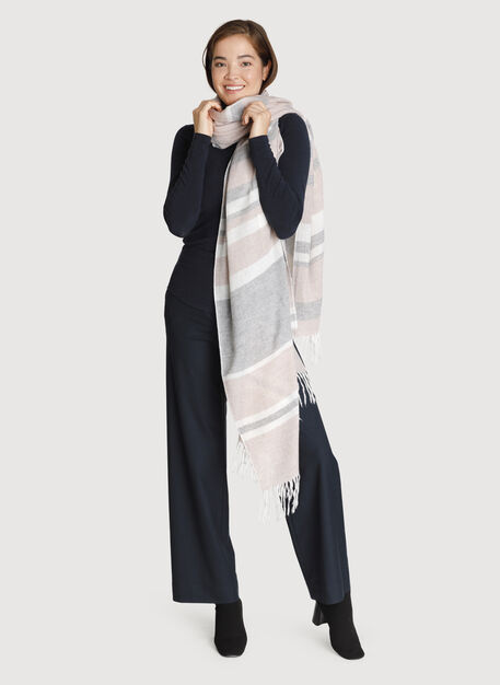 Border On Softness Scarf, HTHR GREY/BONE WHITE/HTHR ANTLER | Kit and Ace