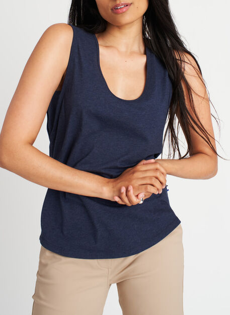 Be Free Tank, Heather Deep Navy | Kit and Ace