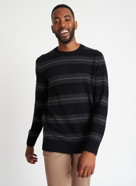 Merino Waffle Striped Sweater, BLACK/HTHR CHARCOAL | Kit and Ace