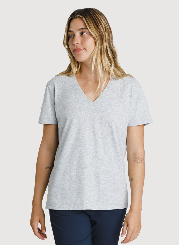 Kit Pima V-Neck Tee, Heather Metal | Kit and Ace