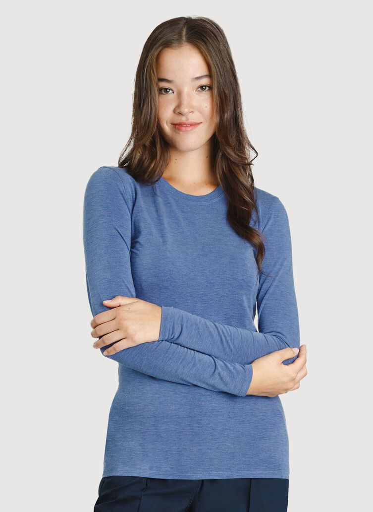 Kit Long Sleeve Crewneck Tee, Heather Blue Indigo | Kit and Ace