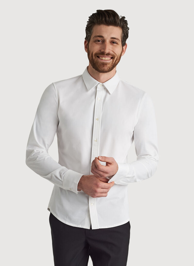 City Tech Long Sleeve Shirt, Bright White | Kit and Ace