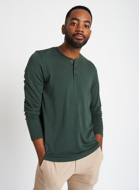 Upgraded Long Sleeve Henley Tee, Heather Forest | Kit and Ace
