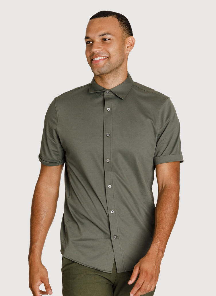 Court Stretch Short Sleeve Shirt, Field | Kit and Ace