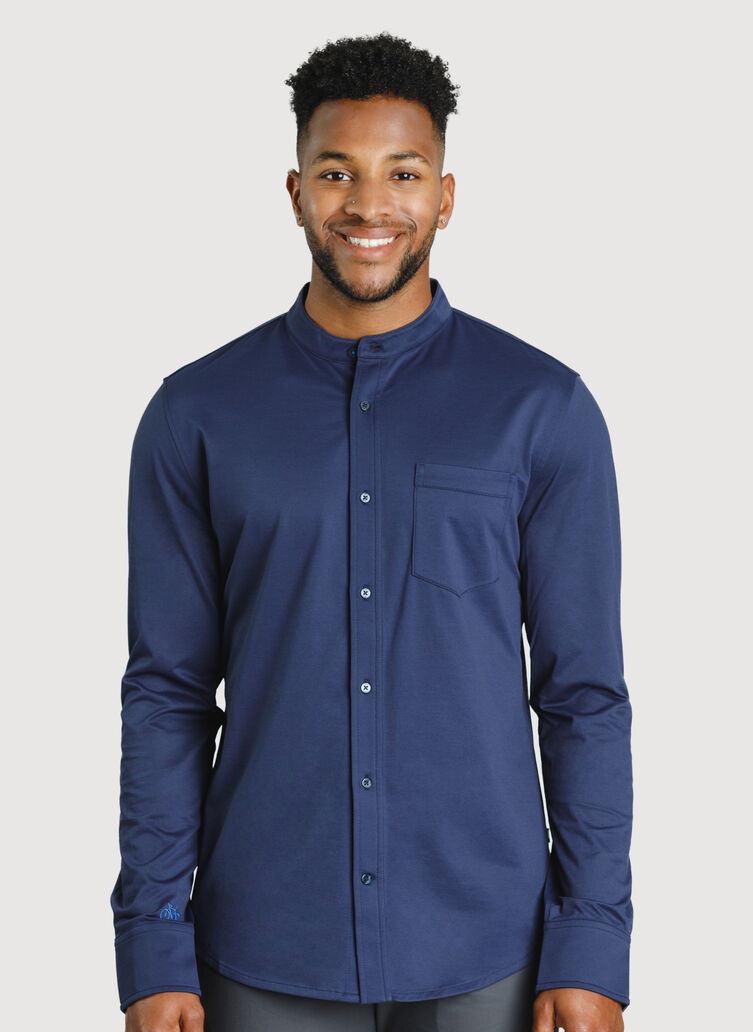 City Tech Collarless Shirt, Deep Navy | Kit and Ace