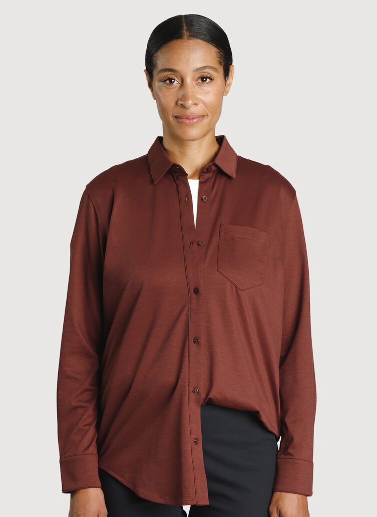 O.T.M. Boyfriend Button Up, Cherrywood | Kit and Ace