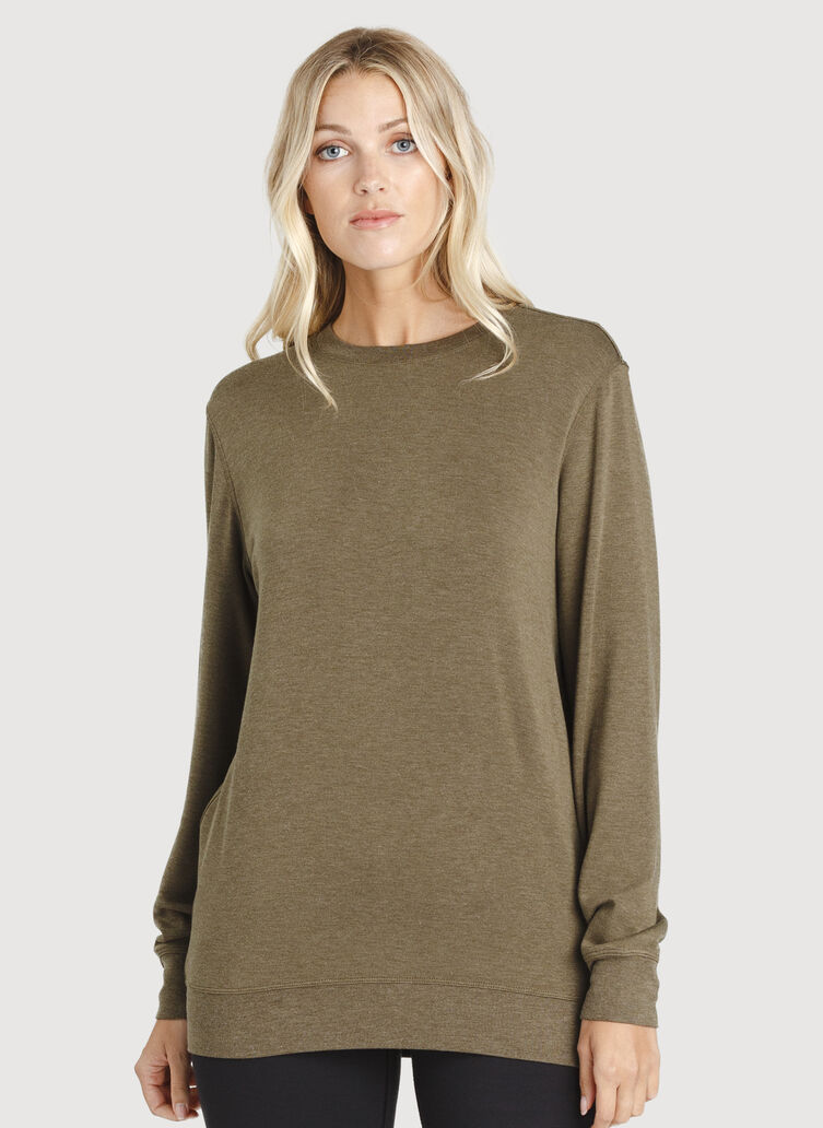 Weekend Pullover, HTHR Moss | Kit and Ace