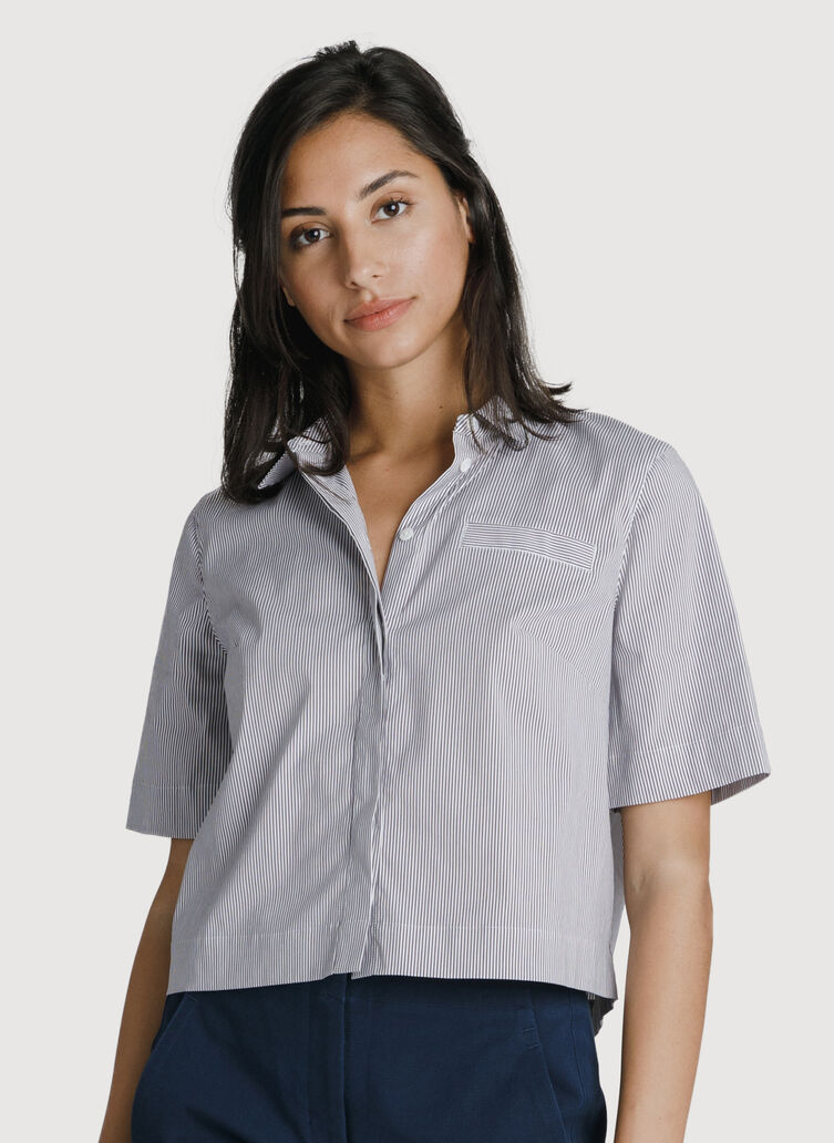 Stretch Cropped Blouse, MICRO SHIRTING STRP/PLUM | Kit and Ace